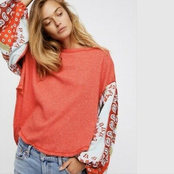 NWOT FREE PEOPLE Blossom Print Sleeve Thermal Red